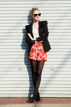 fur shoulders DIY blazer - flower shorts vintage shorts