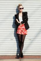 fur shoulders DIY blazer - flower shorts vintage shorts