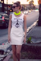 off white leather American Apparel skirt - yellow cotton DIY accessories