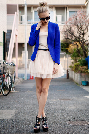 blue electric blue H&amp;M blazer - light pink ballerina tutu chicwishcom dress
