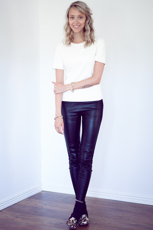 white faux leather BCBG t-shirt