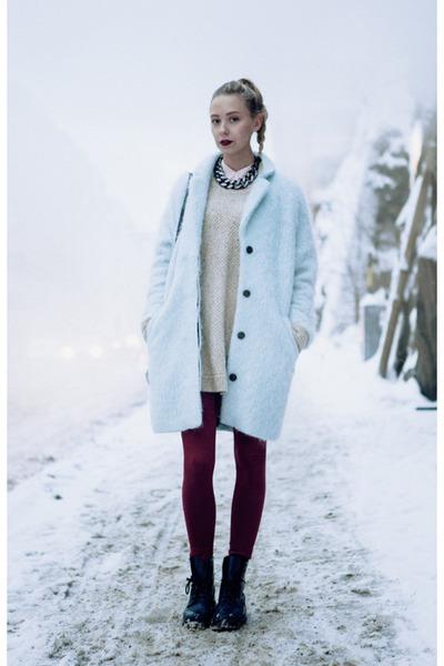 light blue H&M Trend coat - navy Dr Martens boots - brick red H&M leggings
