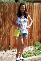 white espadrilles Chanel shoes - yellow duffle legacy coach purse