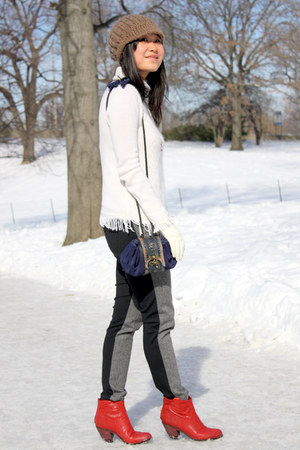white white Jessica sweater - red ankle boots sam edelman boots