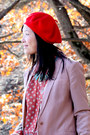 Brown-jeffrey-campbell-boots-red-beret-vintage-hat-dark-brown-h-m-pants