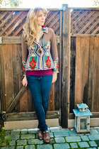 anthropologie sweater - blue skinny jeans jeans - maroon top - necklace