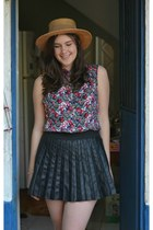 vintage hat hat - floral viscose made by me skirt - black faux leather c&a skirt