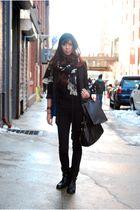 black H&M blazer - black blank jeans jeans - black Fred Segal t-shirt - black Fo