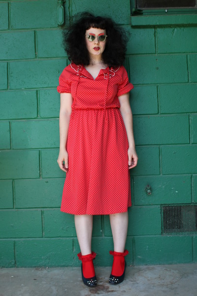 red vintage dress - red socks - red vintage sunglasses - black vintage heels