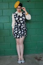 mustard vintage hat - ivory vintage blouse - black vintage romper