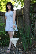 white vintage purse - light blue vintage romper - light blue vintage bracelet