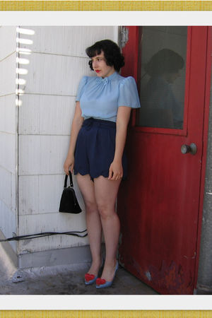 blue vintage from Wasteland blouse - blue thrifted and hemmed by myself shorts -