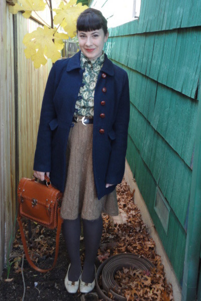 olive green vintage shirt - navy f21 coat - light brown H&M skirt