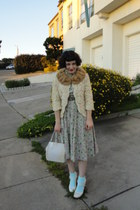 nude vintage dress - beige vintage jacket - light blue American Apparel socks