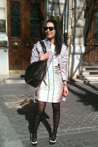 gray H&M coat - white PROENZA SCHOULER dress - white Marni shoes - black Jimmy C