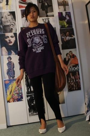 H&M sweater - Forever21 leggings - Aldo shoes - H&M purse