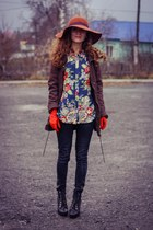 blue Sheinside blouse - dark brown Mango jacket
