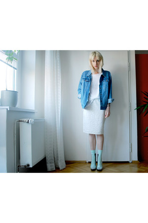 blue denim Secondhand jacket - off white clear Cheap Monday boots