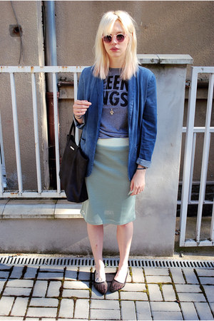 black mesh Cheap Monday flats - blue H&amp;M blazer - navy Mango bag