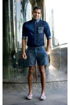 blue denim shirt Customellow shirt