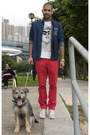 Blue-denim-shirt-customellow-shirt-red-bright-trousers-h-m-pants