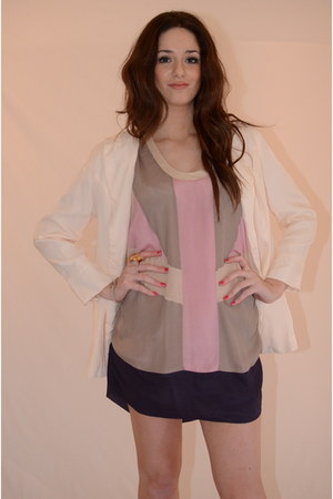 purple silk ManiQuin dress - light pink Latopic blazer