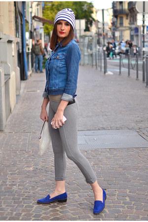 navy Mousqueton hat - navy Lee jacket - heather gray Zara leggings