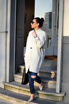 heather gray Mango coat - blue Zara jeans - black Mango bag