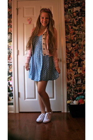 sky blue polka dot material girl dress