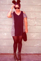 black Insight dress - black Vintage sunglasses glasses - green jeffrey campbell