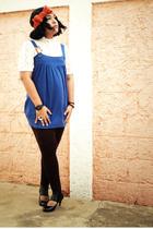 blue Pima cotton dress - white blouse - brown leggings - black shoes - blue Dos