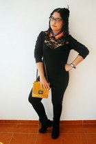 black Zara leggings - mustard Zara bag