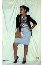 black Miley Cyrus blazer - Zara shirt - blue thrifted skirt - black BCBG shoes -