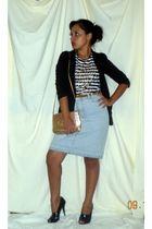 black Miley Cyrus blazer - Zara shirt - blue thrifted skirt - black BCBG shoes -