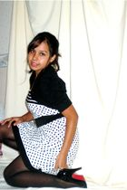 white thirfted dress - black Dots Shops - black Target stockings - black shoes -