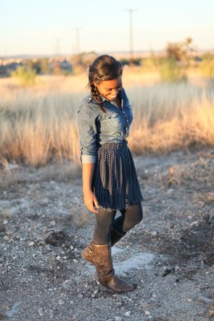 denim Wet Seal shirt - navy Kimchi Blue shirt - leather vintage boots