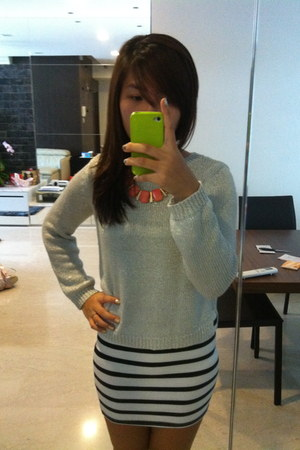shiny H&M sweater - stripes H&M dress - diva necklace
