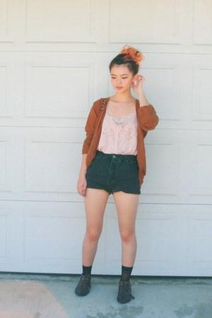 black shorts - light pink top - light brown cardigan