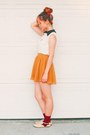 Mustard-circle-skirt-skirt-ruby-red-socks-white-collared-blouse-blouse