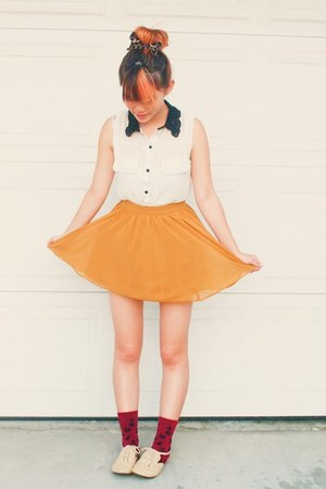 mustard circle skirt skirt - ruby red socks - white collared blouse blouse