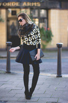 black neoprene H&M skirt - yellow H&M sweater - black Tom Ford sunglasses