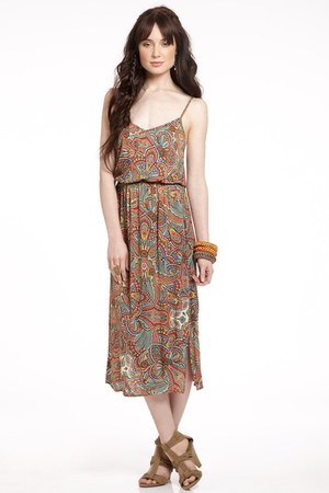 orange boho maxi dress eight sixty dress - green Collective Concepts dress - bla