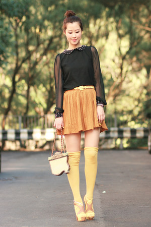 mustard Yesstyle skirt - black becky bloomwoods wardrobe dress