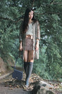 Heather-gray-vintage-coat-light-pink-no-brand-skirt-navy-from-korea-bag-be