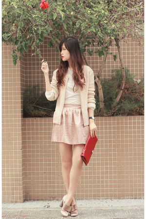 tan Guess jacket - red Valentino bag - light pink Style Societal skirt