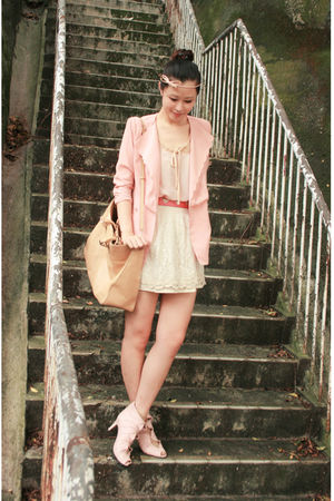 pink scalloped cracker blazer - pink edwina shoes - white Zara dress