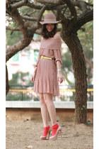 beige yesstylecom dress - nude Christian Louboutin heels