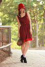 Maroon-rose-tatu-dress-black-paul-joe-heels