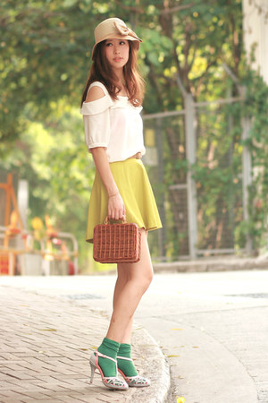 lime green Yesstyle skirt - tawny Chicwish bag - chartreuse H&amp;M socks