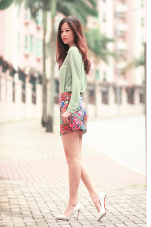chartreuse romwe blouse - red Yesstyle skirt - white Christian Louboutin heels